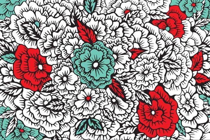 Digital illustration entitled Retro Flowers .
