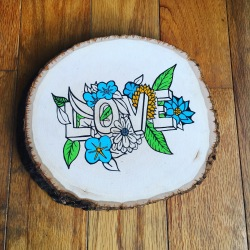LOVE - This artwork is created using maker and paint on wood.
