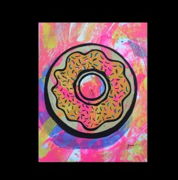 DONUTS - This painting is created using acrylic and marker on canvas.