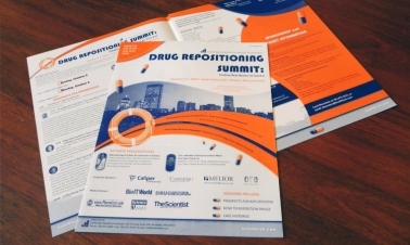 Created a prospectus, brochure, envelope and logo for Cambridge Health Tech Institute's World Drug Repositioning Summit.