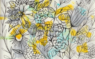Pattern created using marker, ink and gouache.